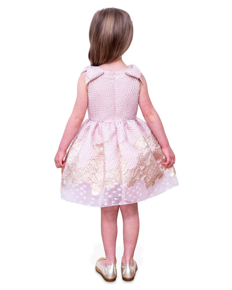 Image 4 of 4: David Charles Girl's Embroidered Jacquard Bow-Shoulder Party Dress, Size 4-10