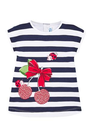 Mayoral Girl's Striped Knit Dress w/ Cherries & Ladybug, Size 6-36 Months