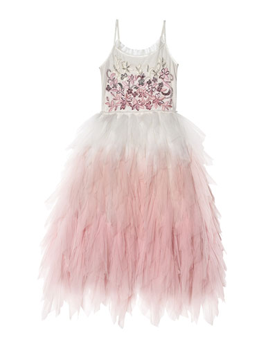 Girl's Wild Rose Long Ombre Tulle Dress  Size 2-11