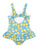 Image 2 of 2: Florence Eiseman Girl's Lemon Print Ruffle-Skirt One-Piece Swimsuit, Size 4T-4