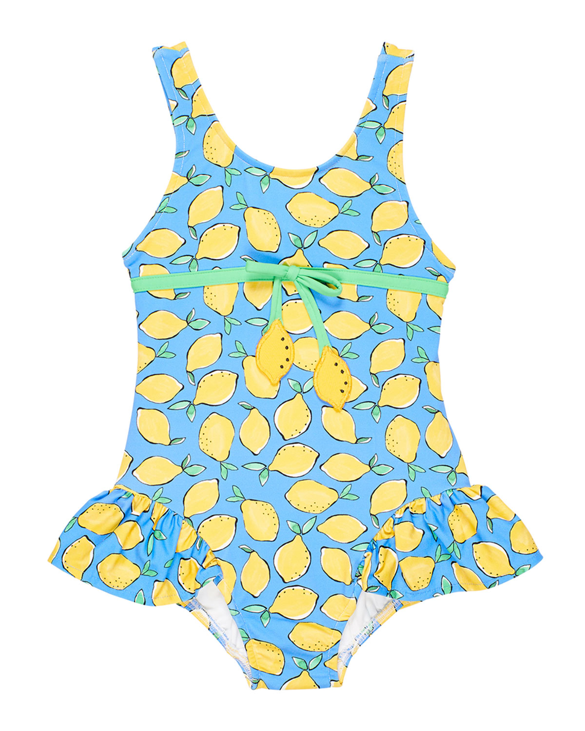 Florence Eiseman Girl's Lemon Print Ruffle-Skirt One-Piece Swimsuit, Size 4T-4
