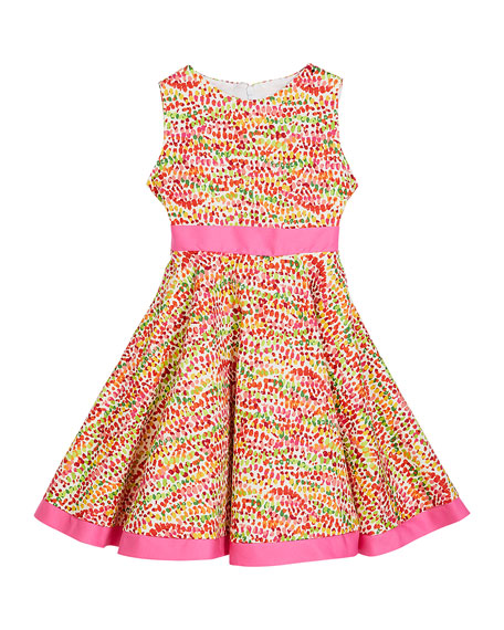 Susanne Lively Girl's Pebble Print Twirl Dress w/ Solid Trim, Size 12M-3