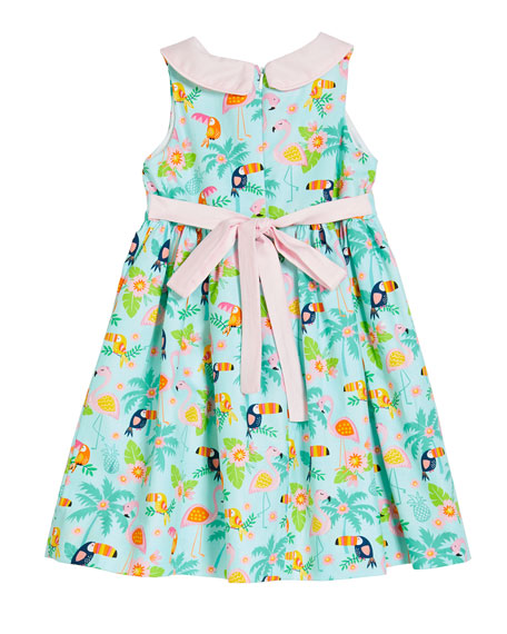 Image 2 of 2: Susanne Lively Girl's Flamingo Dress with Collar, Size 4-6X