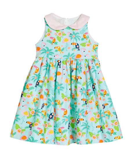 Image 1 of 2: Susanne Lively Girl's Flamingo Dress with Collar, Size 4-6X