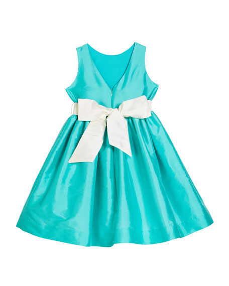 Susanne Lively Girl's Sleeveless Taffeta Dress w/ Sash, Size 12M-3