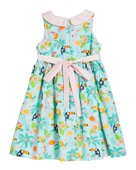 Image 2 of 2: Susanne Lively Girl's Flamingo Dress with Collar, Size 12 Months-3