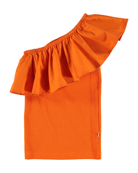 Image 1 of 3: Molo Girl's Rebecca One-Shoulder Frill-Trim Top, Size 5-14