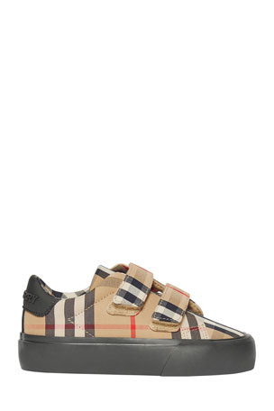 Burberry Markham Check Grip-Strap Sneaker, Baby/Toddler