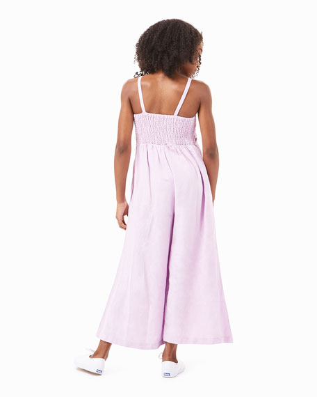 Image 3 of 4: Habitual Girl's Front Twist Sleeveless Linen Jumpsuit, Size 7-14
