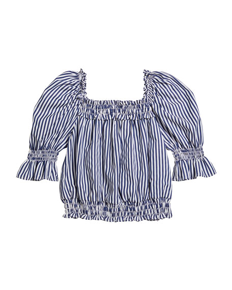 Image 1 of 4: Habitual Girl's Striped Puff-Sleeve Top, Size 7-14