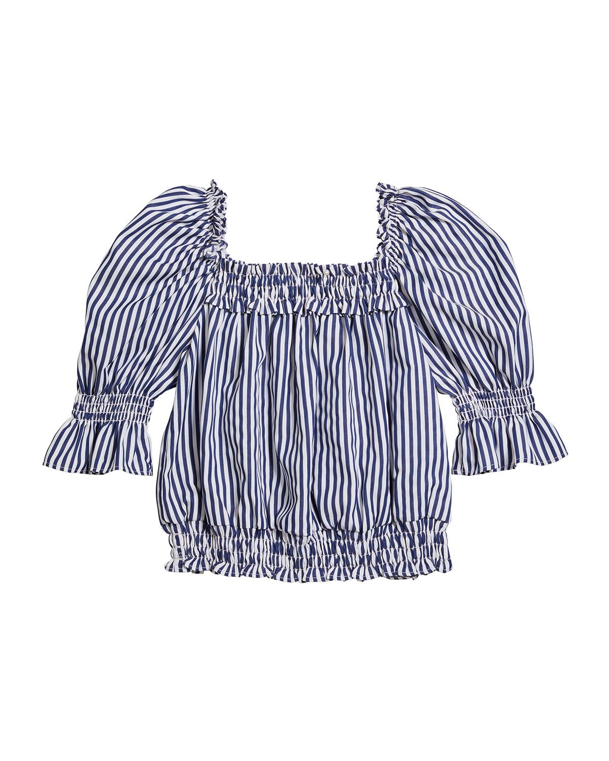 Habitual Girl's Striped Puff-Sleeve Top, Size 7-14