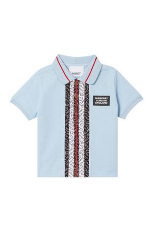Burberry Boy's Mini Joseph Monogram Stripe Pique Polo Shirt, Size 6M-2