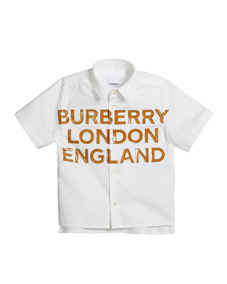 Burberry Boy's Cruz Logo Tape Print Short-Sleeve Shirt, Size 3-14