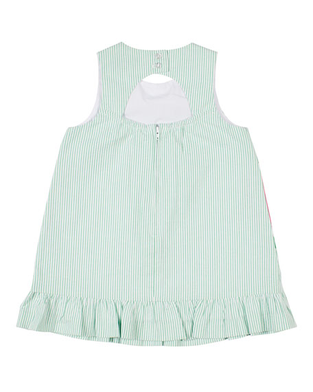 Image 2 of 2: Striped Seersucker Watermelon Dress, Size 2-4T