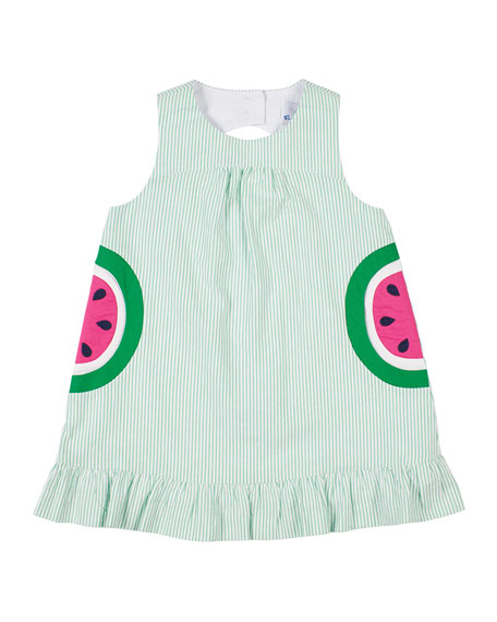 Image 1 of 2: Striped Seersucker Watermelon Dress, Size 2-4T