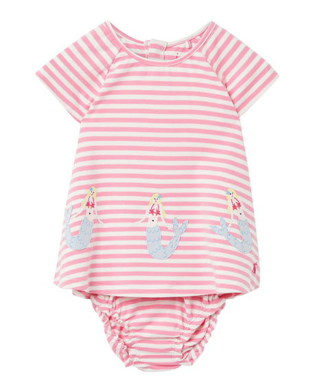Image 1 of 3: Joules Girl's Twiggy Mermaids Stripe Dress w/ Bloomers, Size 6-24 Months