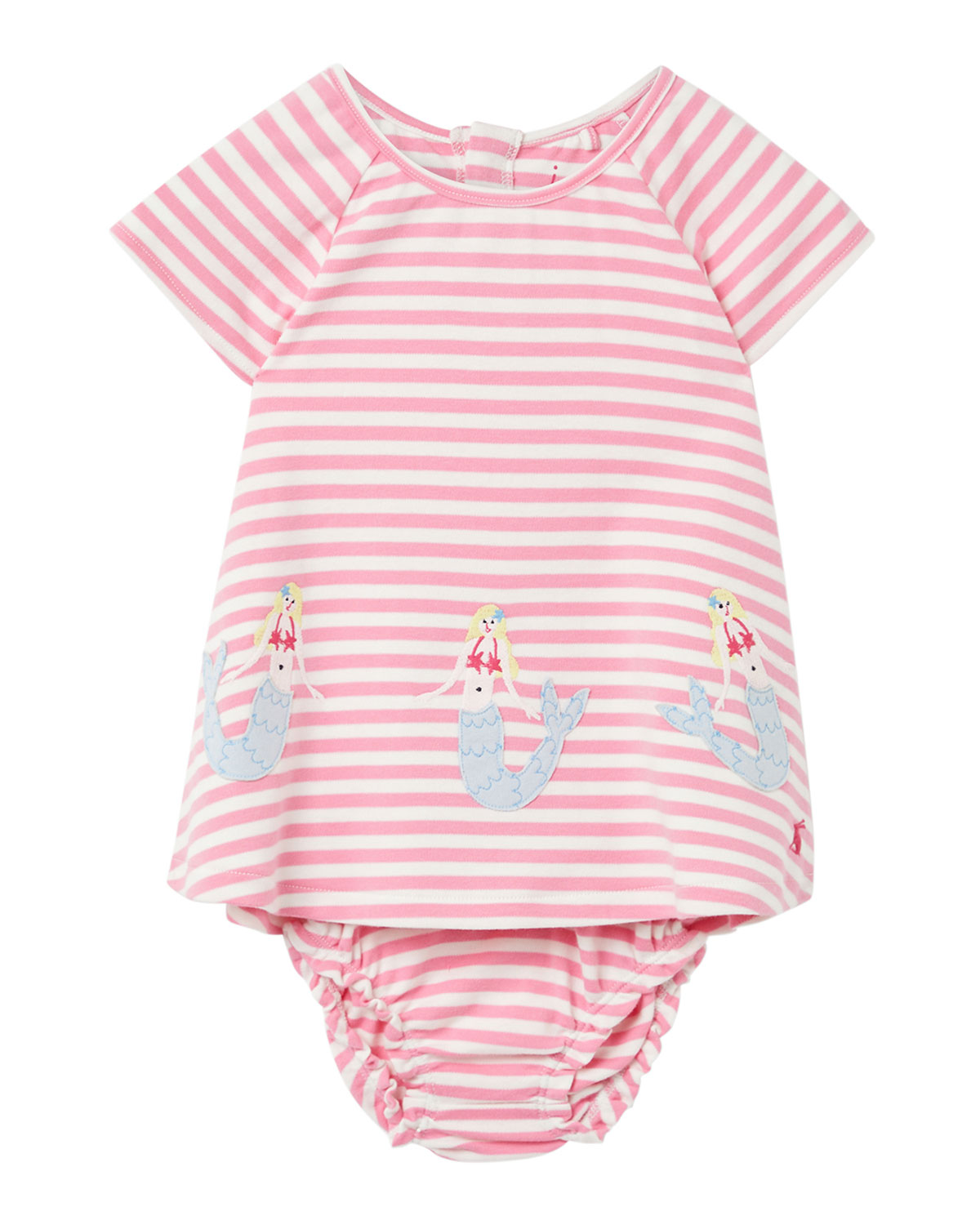 Joules Girl's Twiggy Mermaids Stripe Dress w/ Bloomers, Size 6-24 Months