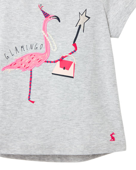 Image 3 of 3: Joules Girl's Astra Flamingo Tee, Size 3-10