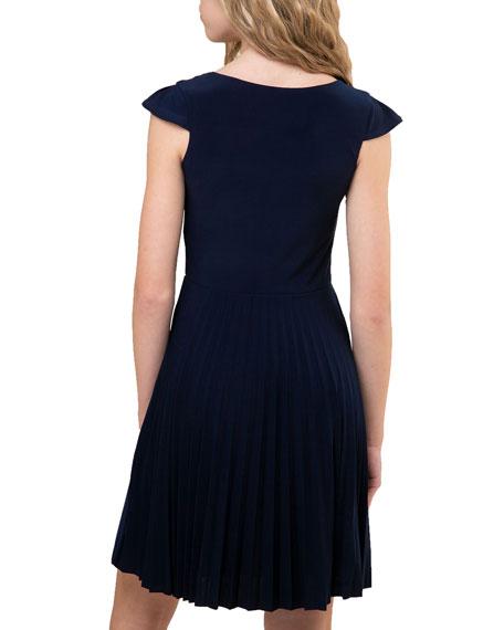 Un Deux Trois Girl's Pleated Cap Sleeve Dress, Size 7-16