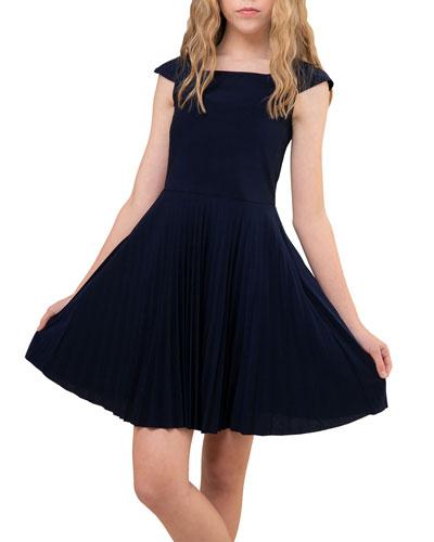 Girl's Pleated Cap Sleeve Dress  Size 7-16