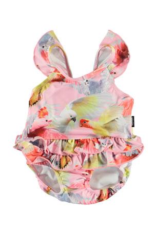 Molo Girl's Nalani Ruffle-Trim One-Piece Swimsuit, Size 3M-3
