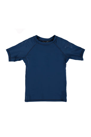 Molo Boy's Neptune Short-Sleeve Solid Rash Guard, Size 3T-10