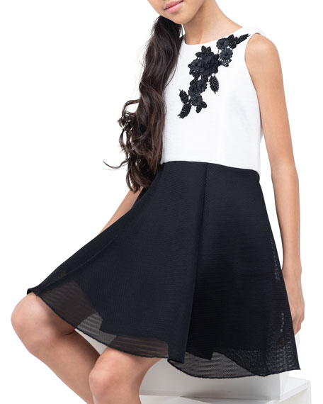 Zoe Girl's Gemma Two-Tone Skater Flower Dress, Size 7-16