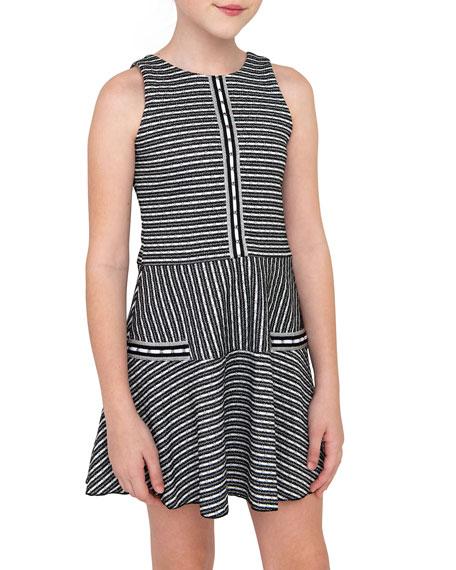 Zoe Girl's Brooke Striped Knit Tweed Skater Dress, Size 7-16