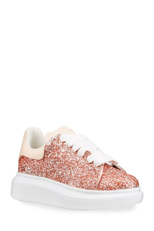 Alexander McQueen Girl's Glitter Leather Chunky Sneakers, Toddler/Kids