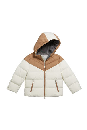 Brunello Cucinelli Boy's Colorblock Nylon Padded Jacket w/ Hood, Size 12