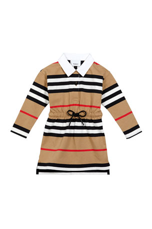 Burberry Girl's Cuthberta Drawstring Icon Stripe Shirt Dress, Size 6M-2