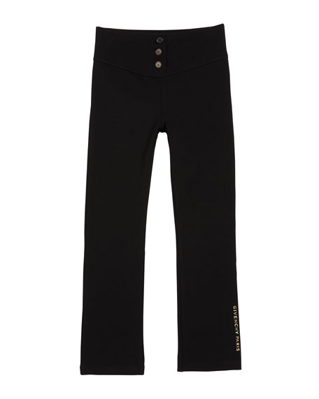 Image 1 of 2: Givenchy Girl's Button-Front Logo Back Jersey Leggings, Size 4-10