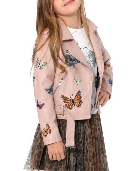 Image 2 of 3: Hannah Banana Girl's Vegan Leather Butterfly Moto Jacket, Size 4-6X