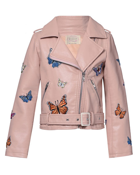 Image 1 of 3: Hannah Banana Girl's Vegan Leather Butterfly Moto Jacket, Size 4-6X