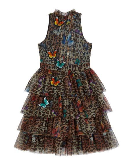 Image 1 of 3: Hannah Banana Leopard Butterfly Dress, Size 7-14