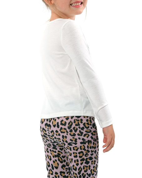 Image 2 of 2: Hannah Banana Girl's 3 Cats Long-Sleeve Graphic T-Shirt, Size 4-6X