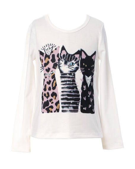Image 1 of 2: Hannah Banana Girl's 3 Cats Long-Sleeve Graphic T-Shirt, Size 4-6X