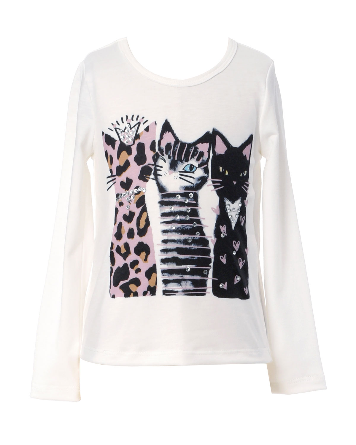 Hannah Banana Girl's 3 Cats Long-Sleeve Graphic T-Shirt, Size 4-6X