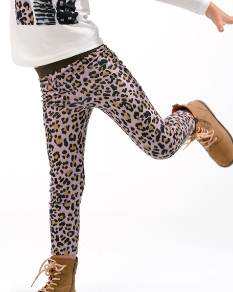 Image 2 of 3: Hannah Banana Girl's Animal-Print Leggings, Size 4-6X