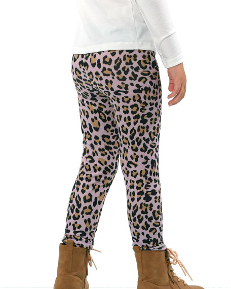Image 3 of 3: Hannah Banana Girl's Animal-Print Leggings, Size 4-6X