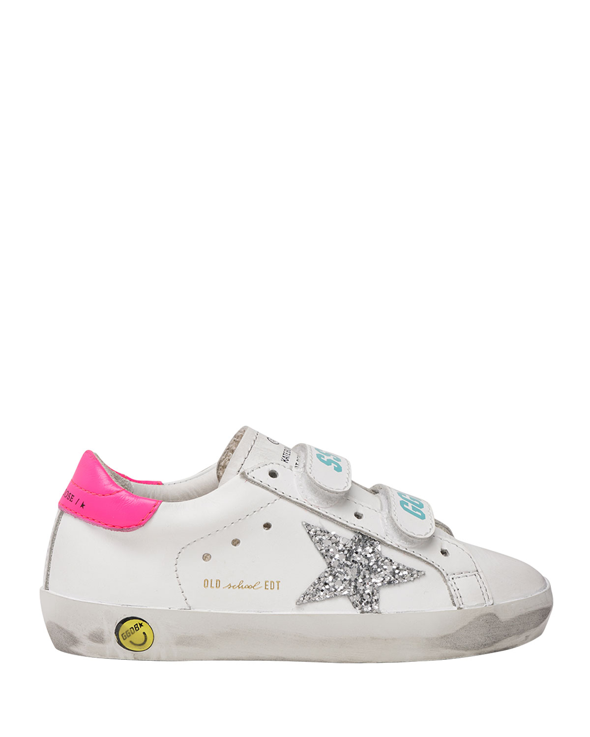 Golden Goose Girl's Old School Leather Logo Grip-Strap Sneakers, Toddlers/Kids