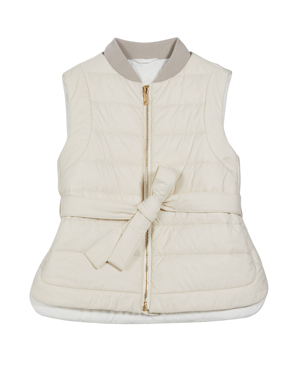Brunello Cucinelli Girl's Zip-Front Goose Down Padded Belted Vest, Size 12-14