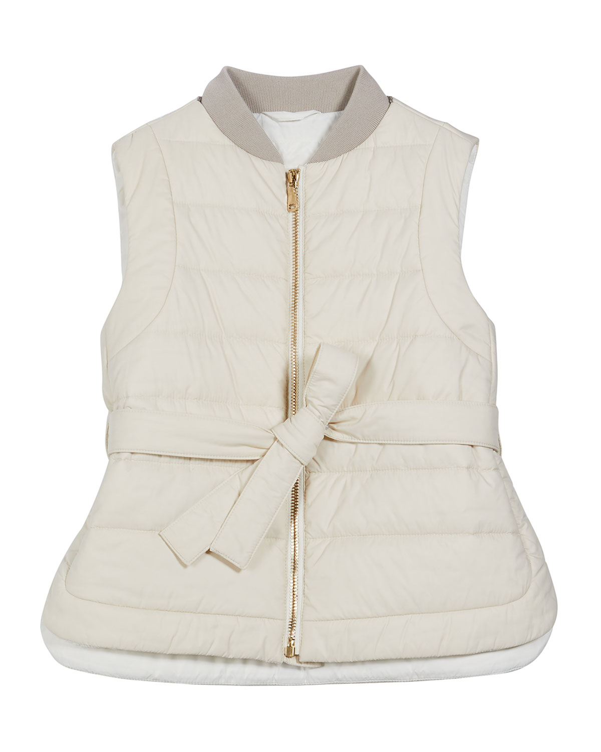 Brunello Cucinelli Girl's Zip-Front Goose Down Padded Belted Vest, Size 4-6