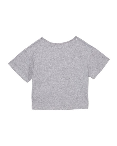 Image 2 of 2: Girl's Crop Glitter Tee, Size S-XL