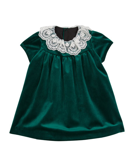 Image 1 of 2: Luli & Me Girl's Lace Collar Velvet Dress w/ Matching Bloomers, Set 2-4T