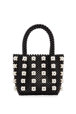 Bari Lynn Girls' Beaded Flower Tote Bag