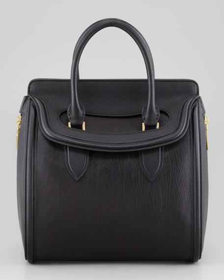 Heroine Medium Leather Satchel Bag, Black