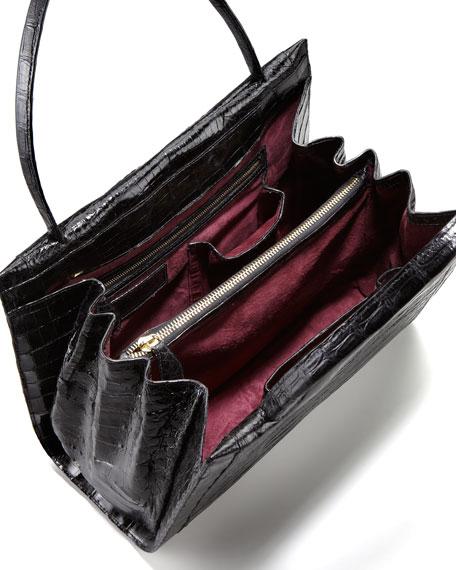 A-Frame Crocodile Medium Satchel Bag, Black