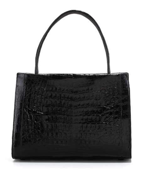 A-Frame Crocodile Medium Satchel Bag, Black