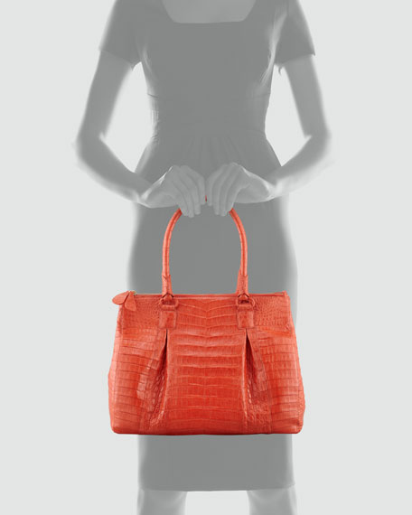Crocodile Large Pleated Tote Bag, Orange